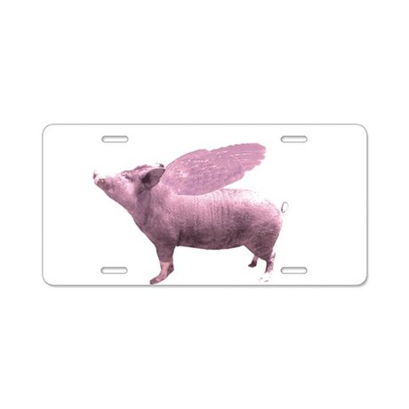 Pink Flying Pig Aluminum License Plate