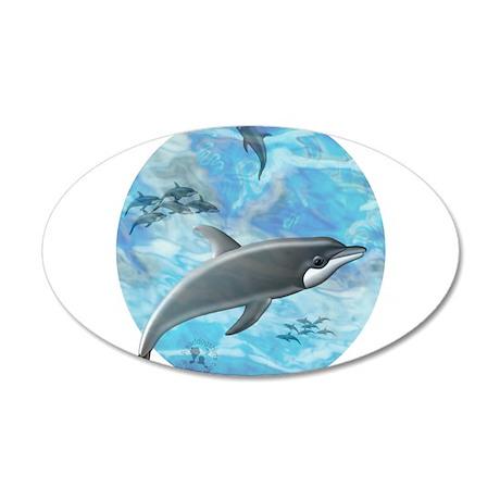 Dolphin Scene 38.5 x 24.5 Oval Wall Peel