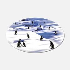 Penguin Scene 22x14 Oval Wall Peel