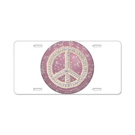 Diamond Peace Sign Aluminum License Plate