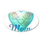 Mom Heart (blue) 22x14 Oval Wall Peel