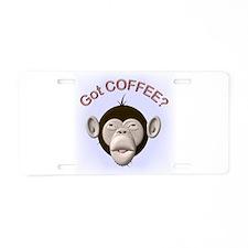 "Got Coffee"" Monkey Aluminum License Plate"
