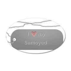 Dogtag- Love my Samoyed 22x14 Oval Wall Peel