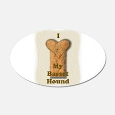 Love My Basset Hound (real) 22x14 Oval Wall Peel