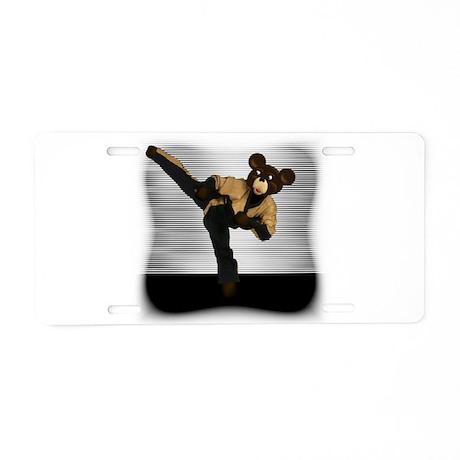 Karate Bear Aluminum License Plate