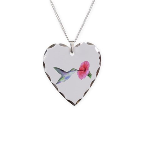 Humming Bird Necklace Heart Charm