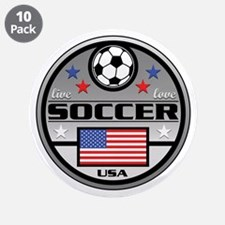 """Live Love Soccer USA 3.5"""" Button (10 pack)"""