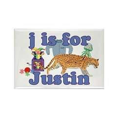 J is for Justin Rectangle Magnet (10 pack)