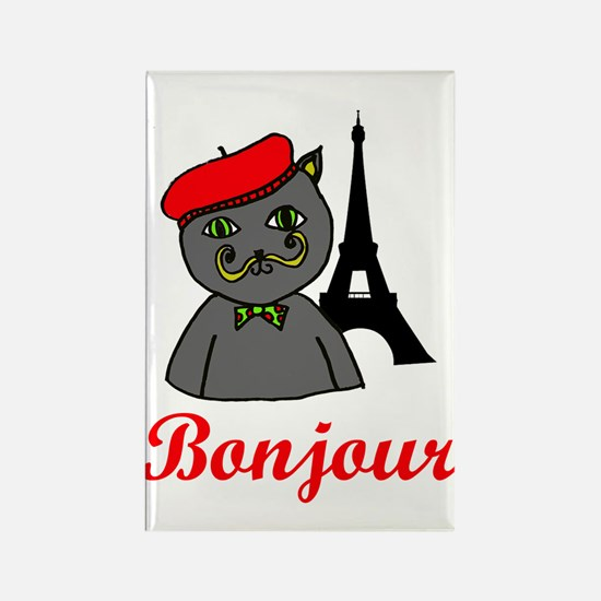 Bonjour Paris Rectangle Magnet