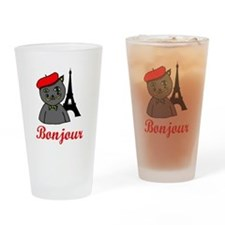 Bonjour Paris Drinking Glass