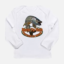 Born to fish forced to work Long Sleeve Infant T-S