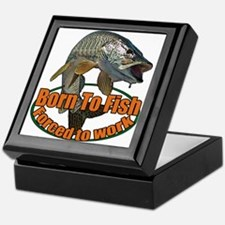 Born to fish forced to work Keepsake Box