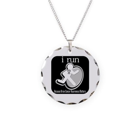 I Run Cancer Awareness Necklace Circle Charm