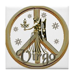 Aries Zodiac Peace Tile Coaster