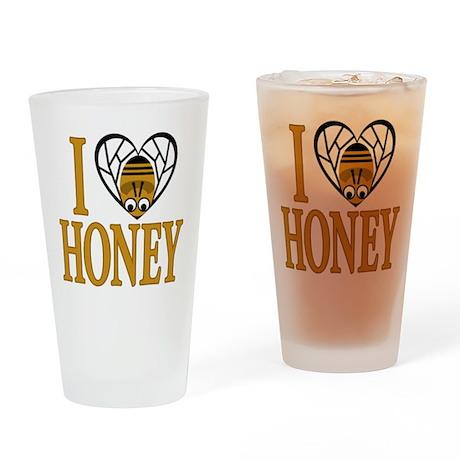 I Love Honey (bee heart) Drinking Glass