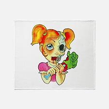 Zombie Girl Tattoo Throw Blanket