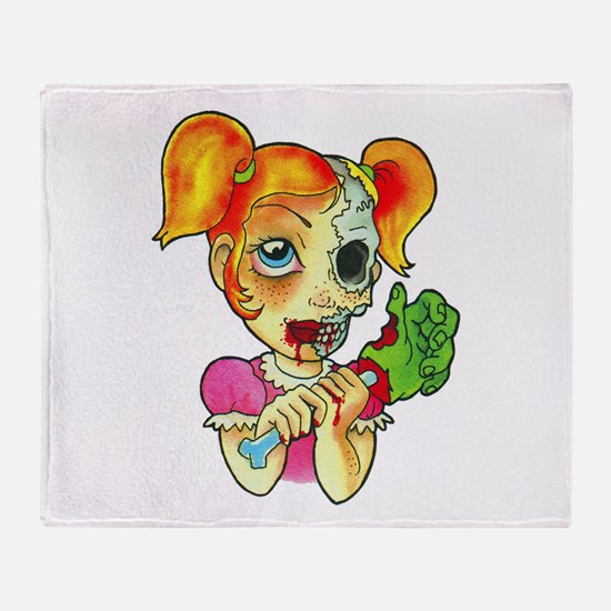 Zombie Girl Tattoo Throw Blanket
