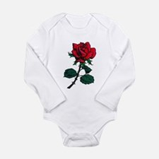 Red Rose Tattoo Long Sleeve Infant Bodysuit