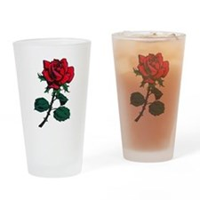 Red Rose Tattoo Drinking Glass