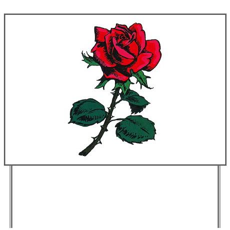 Red Rose Tattoo Yard Sign