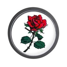 Red Rose Tattoo Wall Clock