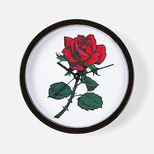 Red Rose Tattoo Wall Clock