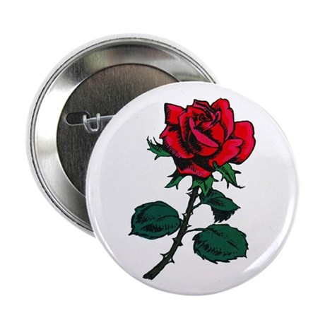 """Red Rose Tattoo 2.25"""" Button (100 pack)"""