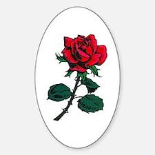 Red Rose Tattoo Sticker (Oval)