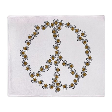 Peace Sign (made of bees) Throw Blanket