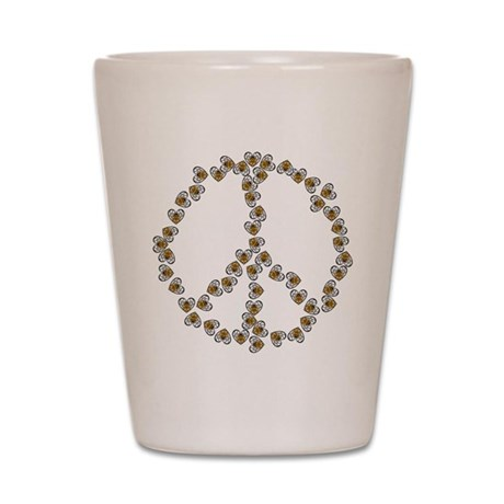 Peace Sign (made of bees) Shot Glass