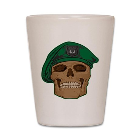 Green Beret Skull Shot Glass