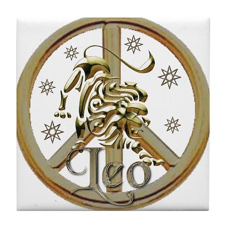Leo Zodiac Peace Tile Coaster