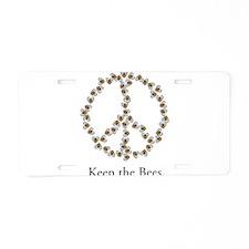 Keep the Bees (peace symbol) Aluminum License Plat