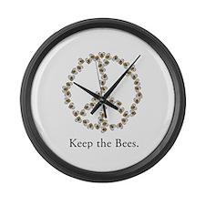 Keep the Bees (peace symbol) Large Wall Clock