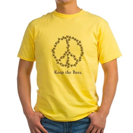 Keep the Bees (peace symbol) Yellow T-Shirt