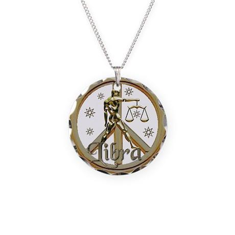 Libra Zodiac Peace Necklace Circle Charm