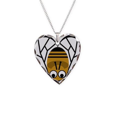 Heart Shaped Bee Necklace Heart Charm