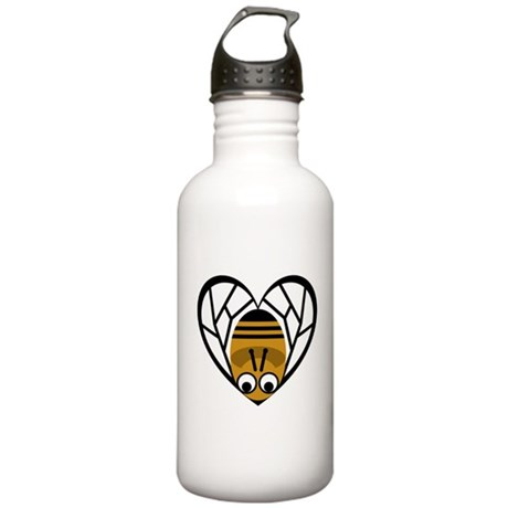 Heart Shaped Bee Stainless Water Bottle 1.0L
