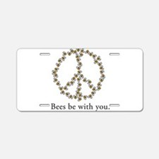 Bees be with you (peace symbo Aluminum License Pla
