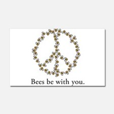 Bees be with you (peace symbo Car Magnet 20 x 12