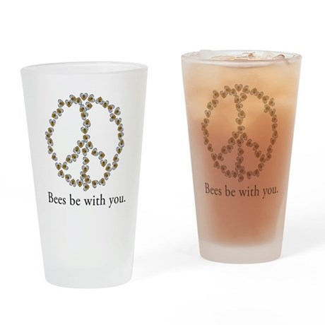 Bees be with you (peace symbo Drinking Glass