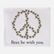 Bees be with you (peace symbo Throw Blanket