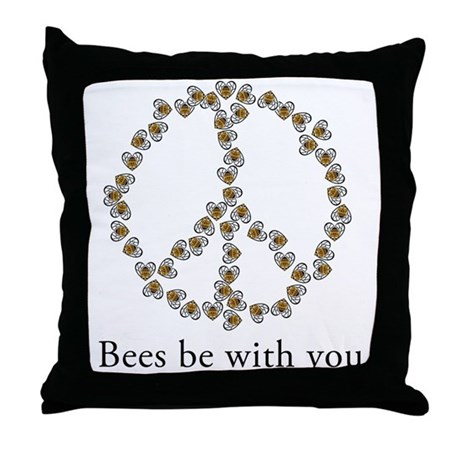 Bees be with you (peace symbo Throw Pillow