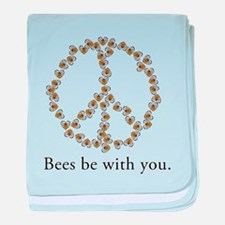Bees be with you (peace symbo baby blanket