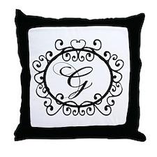 G Monogram Initial Letter Throw Pillow