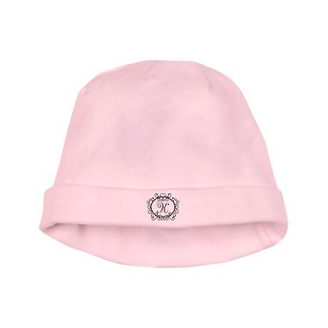 K Monogram Initial Letter baby hat
