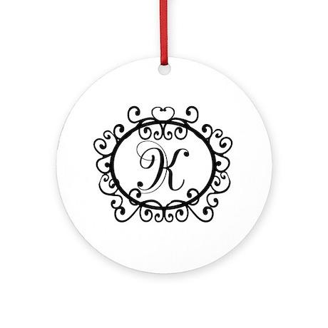 K Monogram Initial Letter Ornament (Round)