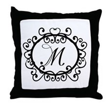 M Monogram Initial Letter Throw Pillow