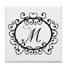 M Monogram Initial Letter Tile Coaster