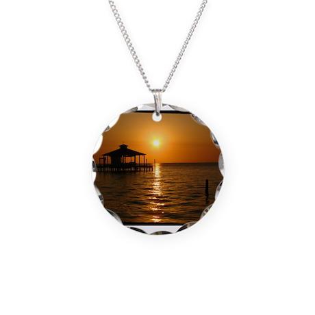 Boathouse at Sunset Necklace Circle Charm